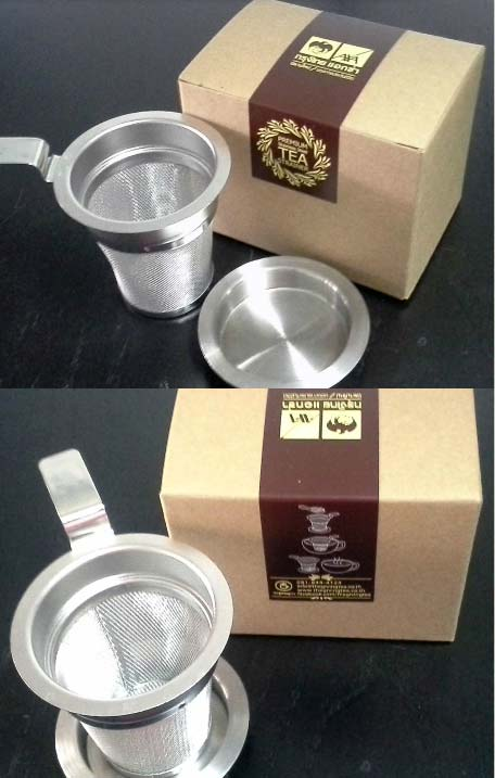 AXA insurance premium tea strainer. Customized box. Logo