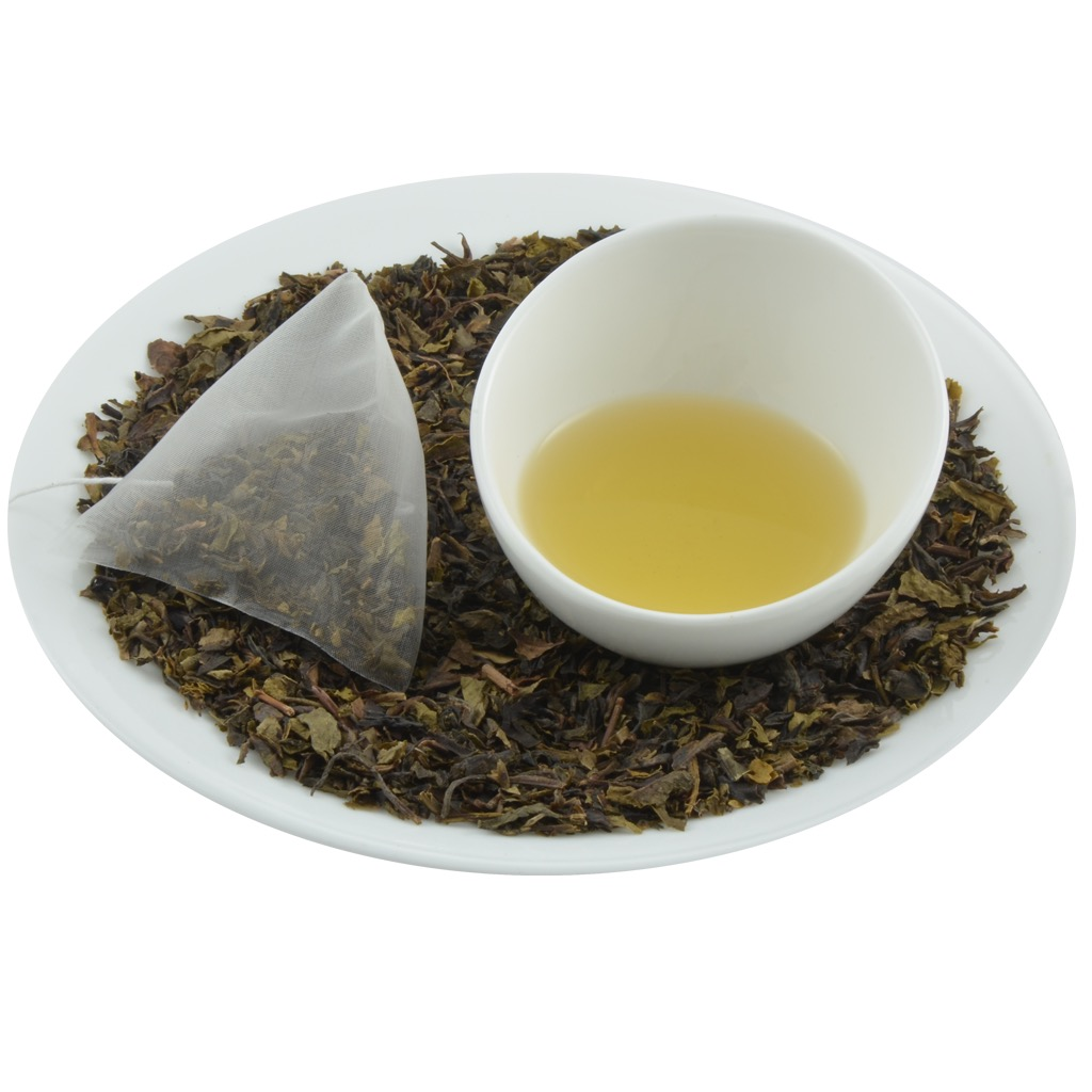 Organic green tea in pyramid tea bag