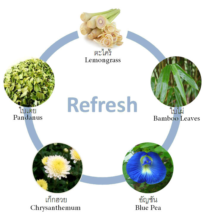 Ingredients of Refresh Tea. Product of Thailand. Organic