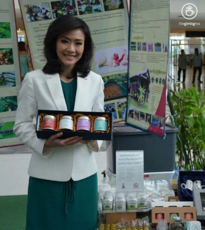 Actress and new anchor with the giving tea herbal tea set.