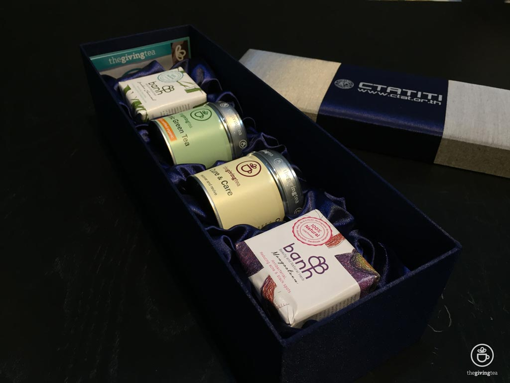Silk box tea gift Set, healthy tea gift set. The Giving Tea