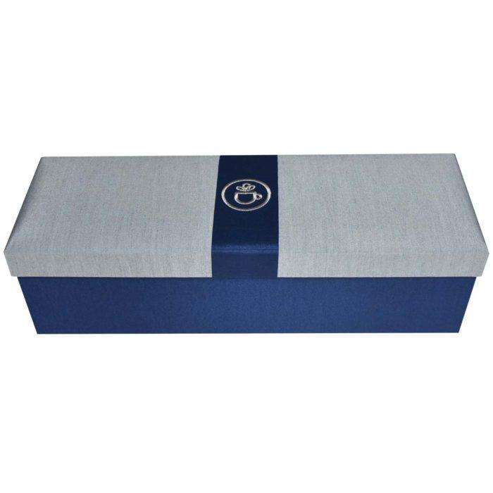 ชุดชาสมุนไพรในกล่องผ้าไหม ของขวัญชาเพื่อสุขภาพ สีน้ำเงิน