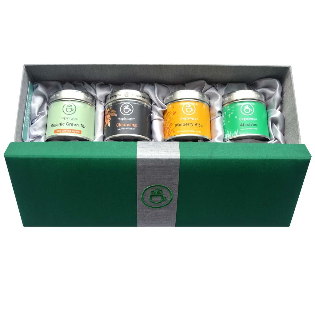 ชุดชาสมุนไพรในกล่องผ้าไหม ของขวัญชาเพื่อสุขภาพ สีเขียว