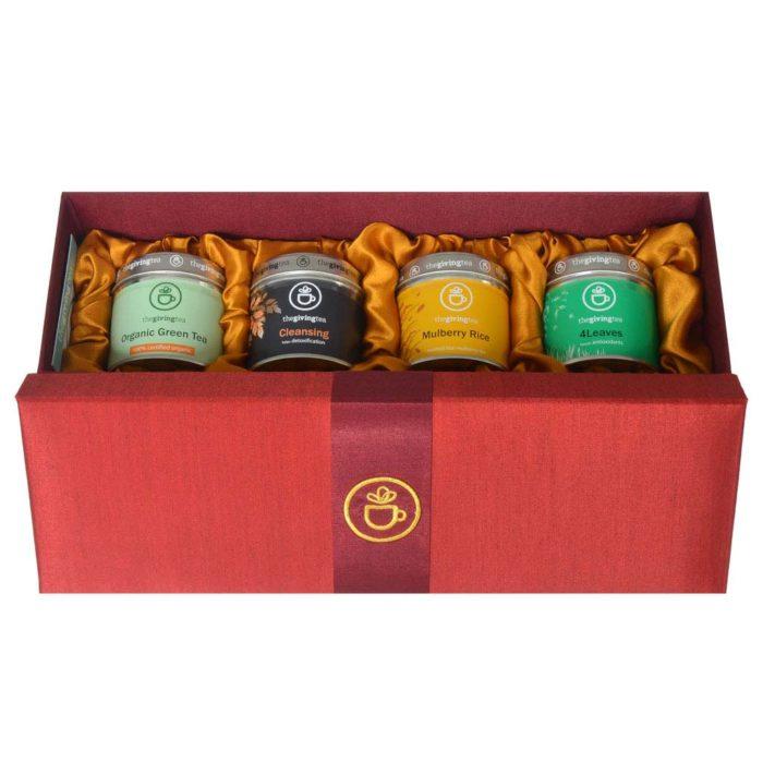 ชุดชาสมุนไพรในกล่องผ้าไหม ของขวัญชาเพื่อสุขภาพ สีแดง